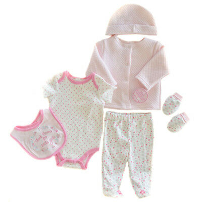 Baby Girls Soft Touch Six Piece Quilted Garment Set. 0-3 Months.