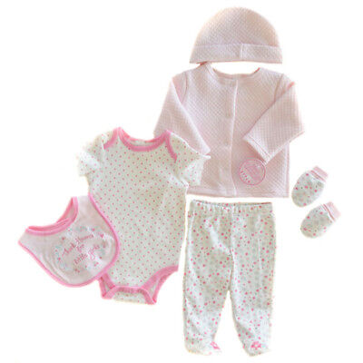 Baby Girls Soft Touch Six Piece Quilted Garment Set. 3-6 Months.