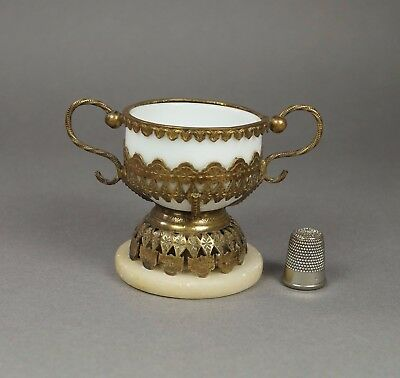 19th Century French Palais Royal White Opaline Glass Twin Handle Dish Chalice