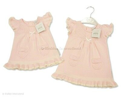 Baby Girls Pink / White Cotton Knitted Dress. Newborn.