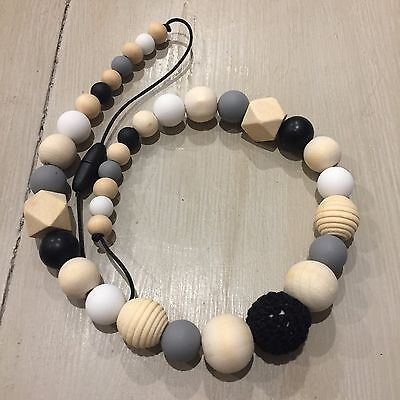 Sensory Nursing Necklace, BPA Free Silicone & Wood 65cm Natural OrganicHand Made