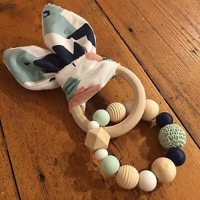 Wood & Silicone Beads,Crinkle Sound Bunny Ears Teething Ring, Geometric