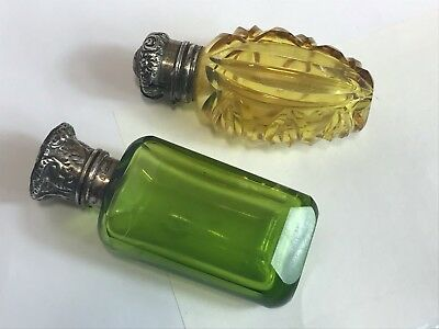 Antique silver top scent bottles  sold as useful for restoration purpose