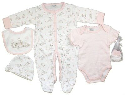 Baby Girls 'Bunny' Five Piece Set. Net Bagged Layette Set. Newborn.