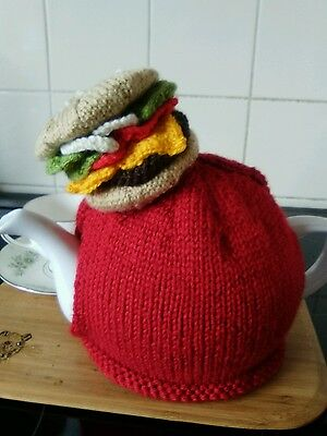 Handknitted fast food cheeseburger tea cosy