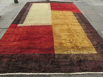 Hand Made Afghan Contemporary Gabbeh Wool Red Gold Modern Rug 426x273cm