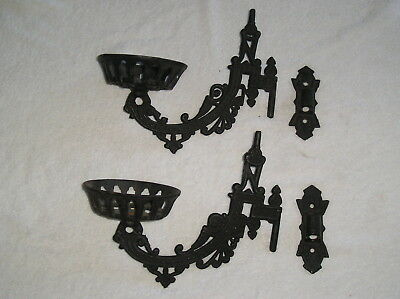 Pair of Antique Cast Iron Swivel Mount Wall Sconces for Candles