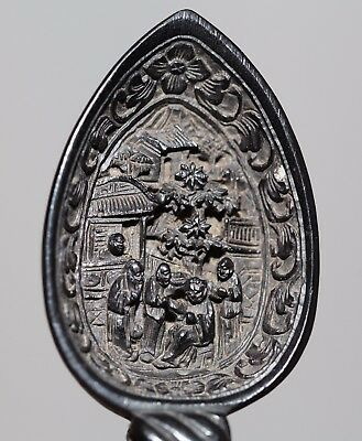 Antique Chinese carved black wood cantonese intricate spoon, Qing Dynasty, RARE.
