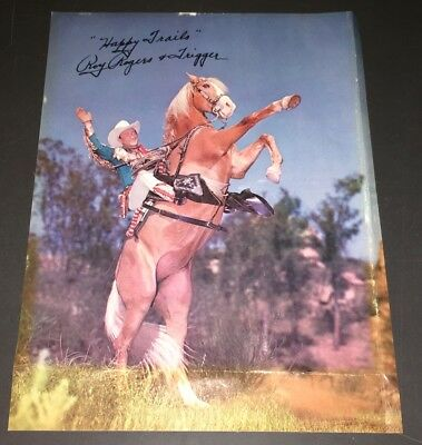 """ROY ROGERS & TRIGGER  8.25 x 11"""" COLOR PROMO FLIER wPRINTED SIGNATURE!"""