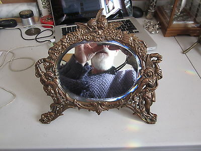 Antique Victorian/Art Nouveau Copper or Red Bronze Tabletop Mirror with Cherubs