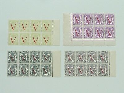 Belgium 1944 V For Victory Set Of 4 Mnh In Blocks Of Eight Sg 1078/1081