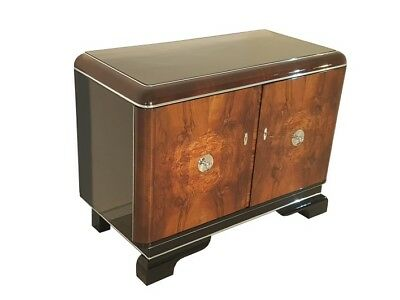 Walnut Commode with Chrome Handles