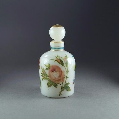 Antique 19th Century French White Opaline Glass Scent Bottle Hand Painted Flower