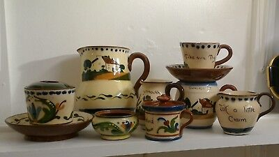 Collection, 8 pieces Torquay ware, Devon Motto, Longpark etc.