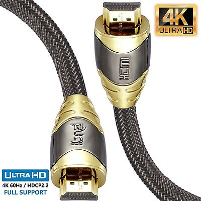5M(2 pack) - LUXURY Braided HDMI Cable v2.0 1.4a GOLD UltraHD HDTV 2160P 4K PS4