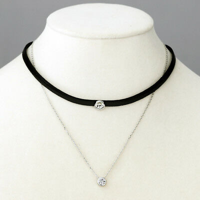 Fashion Sparkling Clear White Zircon Black Faux Leather Choker Necklace Jewelry