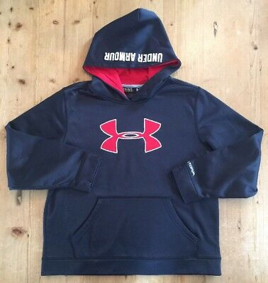 Boy's Under Armour Storm Hoodie Sweatshirt Black Red Logo Youth Large YLG EUC!