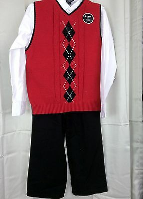 Boys Christmas 3 pc red sweater vest suits, size 7 or 8, black pants white shirt