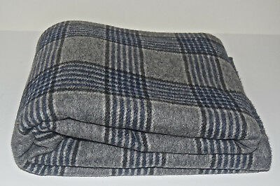 Vintage Clearbrook Woolen Mills Va Gray Plaid Wool Fabric 60x91