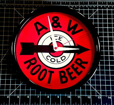A&W ROOT BEER - - - Classic Logo -- -- 9 inch Quartz Wall Clock - ///  /// NIB !