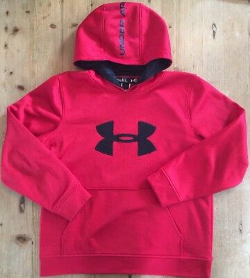 Boy's Under Armour Hoodie Sweatshirt Red Black Logo Youth Large YLG EUC!