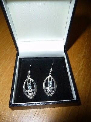 Charles Rennie Mackintosh Design Silver 925 Earrings With Blue Stone New