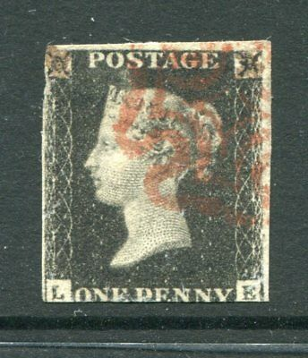 GB 1840 QV PENNY BLACK LE Red Maltese Cross Used Stamp