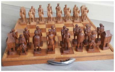 Handcarved Chess pieces set Native Tribal from Philippines 1890-1930