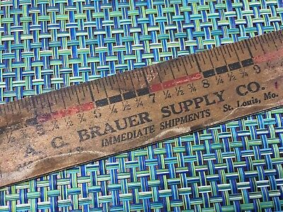 Antique 1800's Wood Advertising Ruler A C Brauer Supply Co St Louis Stove Repair