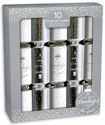 10 x TRADITIONAL CHRISTMAS CRACKERS IN SILVER & WHITE WITH GIFT JOKE & PARTY HAT