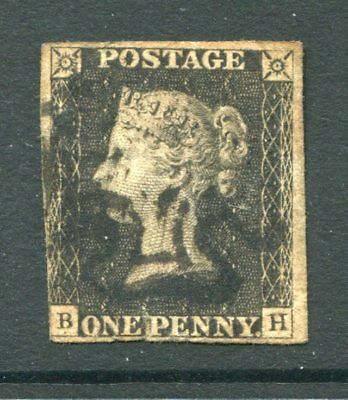GB 1840 QV PENNY BLACK BH Black Maltese Cross Used Stamp