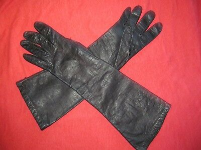 Vintage 1950s / 1960s Sexy Fully lined Long Black leather gloves women's size 8