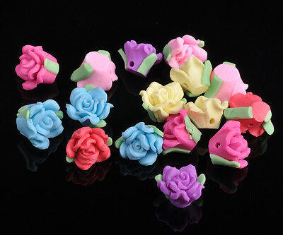 50pcs 11mm Polymer Clay Rose Flower Charms Loose Findings Beads Mixed Color