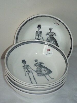 "SET OF 6 Victorian English Pottery HALLOWEEN GENT LADY GOTHIC 7.5"" CEREAL BOWLS"