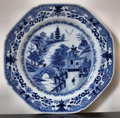 18th Century Chinese Blue & White Octagonal Porcelain Plate
