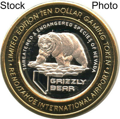 2007-S Reno-Tahoe Intl Airport $10 Silver Strike Grizzly Bear Design Rare!