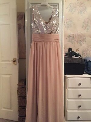 Size 12 Bridesmaid Prom Full Length Dress Peach Champagne New