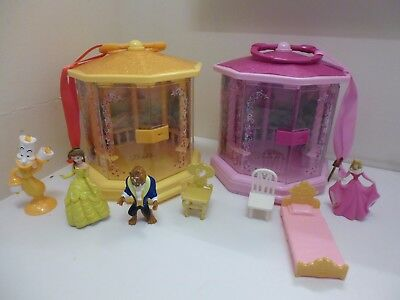 2 Disney Store Princess Gazebos Belle & Sleeping Beauty With Some Accessories