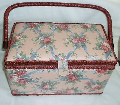 *vtg* Floral Sewing Basket~Filled With A Lot Of Notions