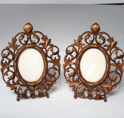 Antique Pair Of Cast Iron Ormolu Oval Picture Frames