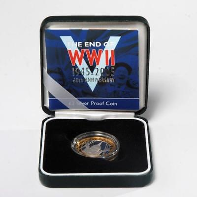 Royal Mint End Of Wwii 60Th Anniversary 2  Pound Silver Proof Coin