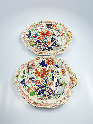 Antique Ironstone Imari Painted 2 Footed Serving Dishes