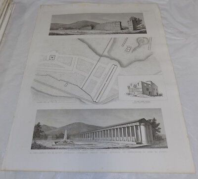 "1856 Print 17x22""/ANCIENT ROMAN GYMNASIUM AT IMPERIAL PALACE, ADRIAN VILLA ITALY"