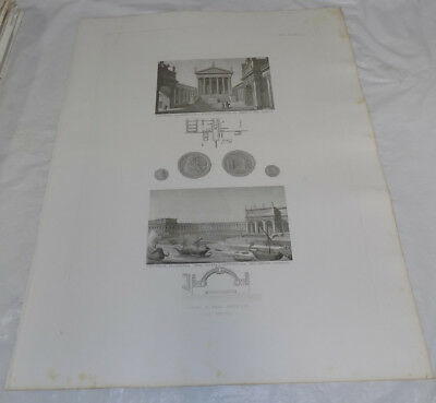 """1856 Print 17x22""""/THE ANCIENT ROMAN IMPERIAL PALACE AT ADRIAN VILLA, LIBRARIES"""