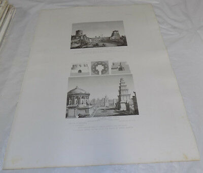"""1851 Print 17x22""""/ANCIENT ROMAN BURIAL MONUMENTS ON APPIA WAY AT ALMORE RIVER"""