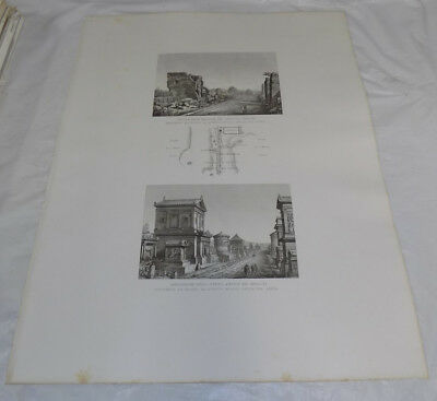 """1856 Print 17x22""""/ANCIENT ROMAN BURIAL MONUMENTS, APPIA WAY, 5TH MILE ROME ITALY"""