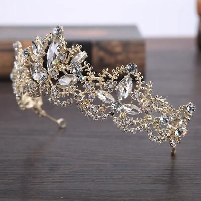 Luxury Crystal Bridal Crown Tiara Light Gold Color PROM Wedding Hair Accessory