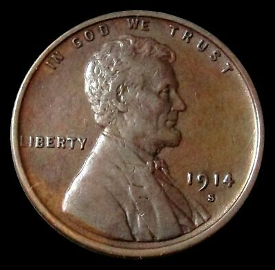 1914 S Lincoln Penny Wheat Cent Extra Fine