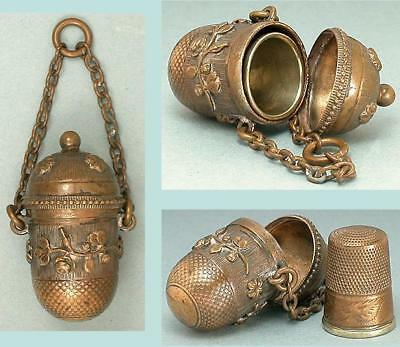 Antique Floral Chatelaine Thimble Holder * English * Circa 1890s