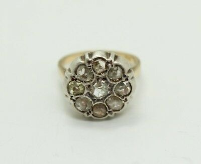 Superb Antique 19c Rose Cut Diamond 9 Stone Cluster 14k Gold Ladies Ring